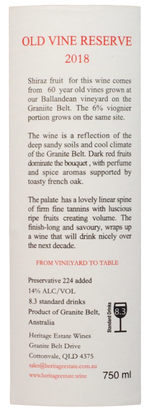 Shiraz Viognier - BAck Label